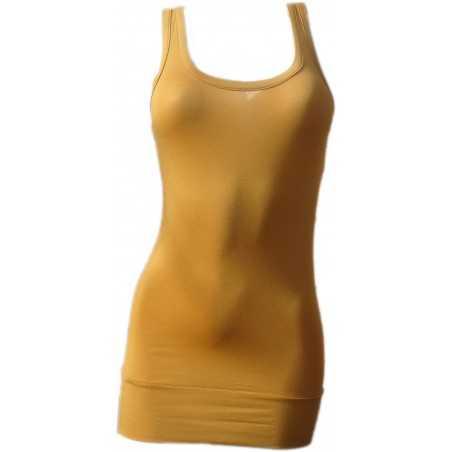 Débardeur Long femme jaune ocre