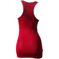 debardeur long femme rouge foncé made in France