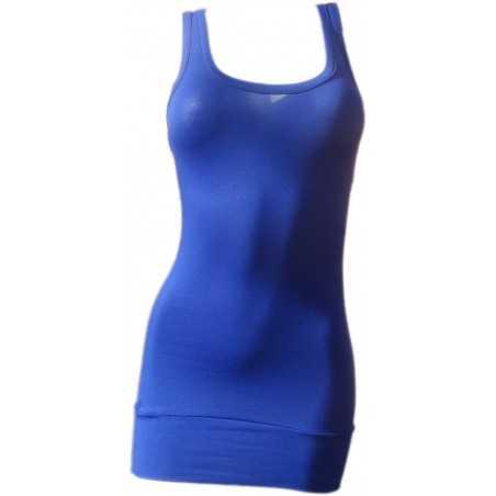 Débardeur Long femme bleu electrique