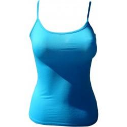 Débardeur fine bretelle bleu turquoise